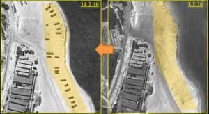 Satellite images of the beach. ImageSat said that while the setup appears temporary, 'we expect to see construction of a suitable complex in the near future'.
