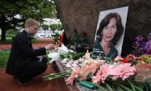 A memorial to Natalya Estemirova, St. Petersburg, Russia, July 2009.