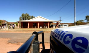 A police car at an Aboriginal community east of Alice Springs