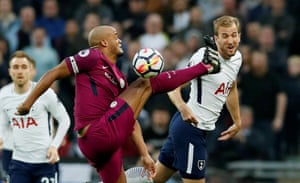 Manchester City's Vincent Kompany in action with Tottenham's Harry Kane at Wembley. City won the game 3-1.