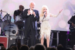 Kenny Rogers and Dolly Parton perform in All In For The Gambler: Kenny Rogers Farewell Concert Celebration, at Bridgestone Arena, Nashville, in October 2017