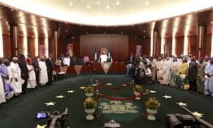 Nigeria's president, Muhammadu Buhari, swears in his cabinet in November.