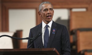 Former President Barack Obama, delivers the eulogy during the funeral for the late John Lewis