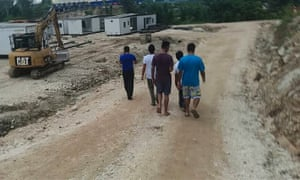 A group of refugees and asylum seekers at Manus Island's East Lorengau centre.
