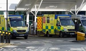 Ambulances outside the Royal Victoria Infirmary, Newcastle