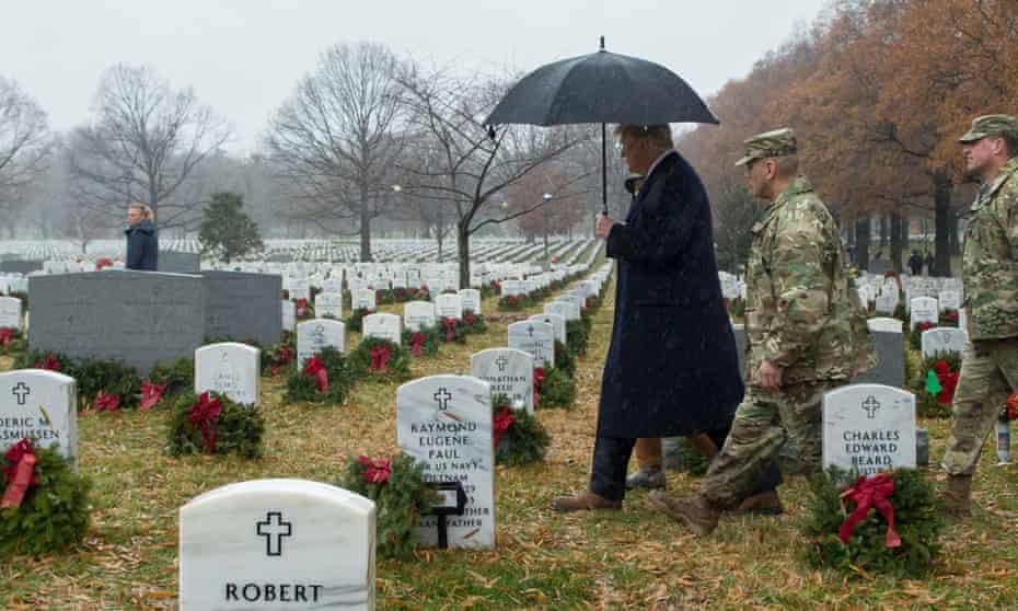 Donald Trump visits Arlington National Cemetery in Arlington, Virginia, on 15 December 2018.