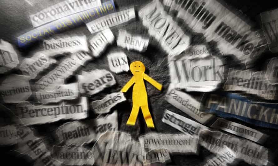 Paper man surrounded by swirling coronavirus and economy news headlines.
