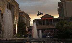 Travis Pastrana jumps the fountain at Caesars Palace on a Sunday night in Las Vegas