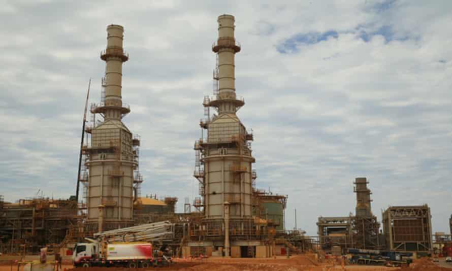 Part of the Chevron LNG project under construction during a tour of the Chevron LNG project on Barrow Island, Western Australia,