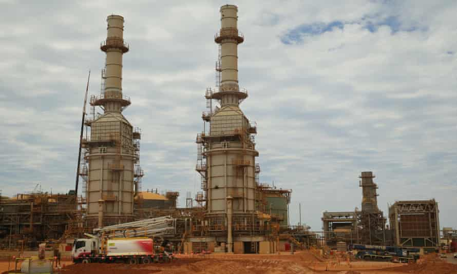 The Chevron gas project under construction on Barrow Island off Western Australia in 2016