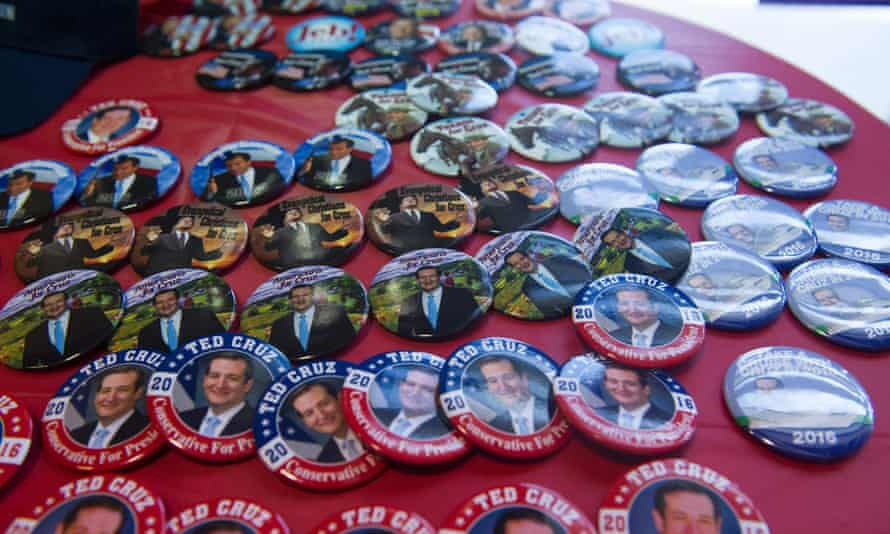 Ted Cruz campaign buttons for sale.
