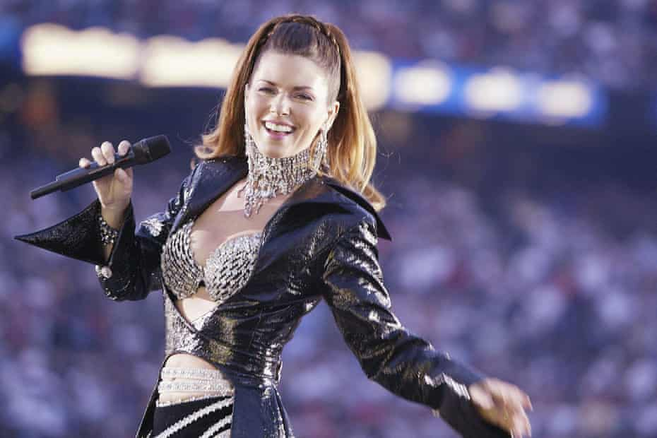 Shania Twain performs during halftime of the 2003 Super Bowl.