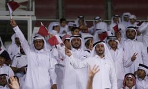 Qatar fans support their team during a 2022 World Cup Qualifier
