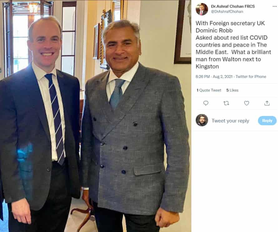 The tweet, since deleted, of Dr Ashfraf Chohan meeting the foreign secretary, Dominic Raab.