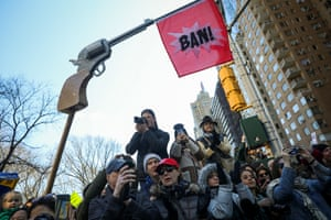 A mock-up of a pistol with the word Ban! projecting from the barrel at the New York City event.