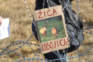 Croatian and Slovenian people protest against the border fence in December 2015