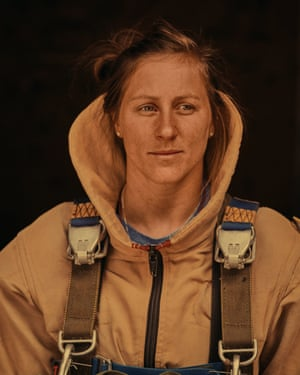 """A firefighter at a base in Redmond, Oregon. 'She was strong, smart and attentive. I had asked: """"What was one of the most surprising factors of becoming a Smokejumper?"""" 'Her response: """"How well everyone works as a team and looks out for each other out there""""'"""