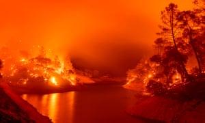 Flames consume the shores of Lake Berryessa in Napa, California.