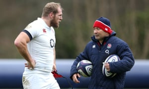 James Haskell and Eddie Jones at an England training session in February 2016. The former Test player says of the Australian: 'He's the best coach I've worked with.'