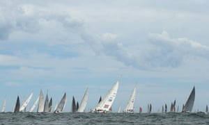 The fleet headed out of Sydney on Boxing Day on the long journey to Hobart.
