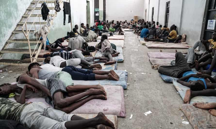 Refugees and migrants at a detention centre in Zawiyah, 45 kilometres west of the Libyan capital Tripoli. Interceptions of small boats crossing the Mediterranean have increased in recent months.