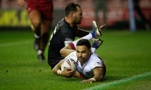Wigan's Bevan French dives over for a try during his inspirational display on a night when Toronto suffered three more injuries.