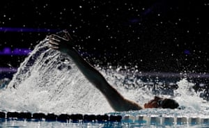 Max Litchfield of GB and Energy Standard competes in the backstroke leg of the men's 400m individual medley.