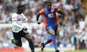 Wilfried Zaha runs past Victor Wanyama during Crystal Palace's recent 1-0 defeat to Tottenham Hotspur at White Hart Lane