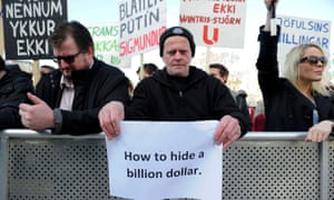 People demonstrate against Gunnlaugsson in Reykjavik.