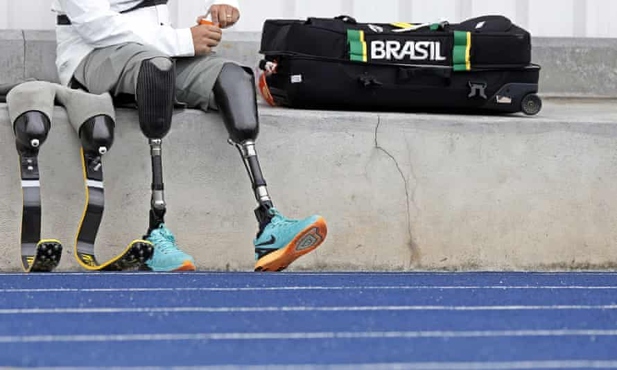 Sprinter Alan Fonteles prepares to train for the upcoming Paralympic Games in Brazil.