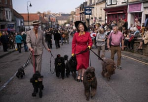 Second world war civilian life re-enacted with even dogs getting in on the act.