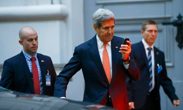 US secretary of state John Kerry leaves a meeting in Vienna on Friday.