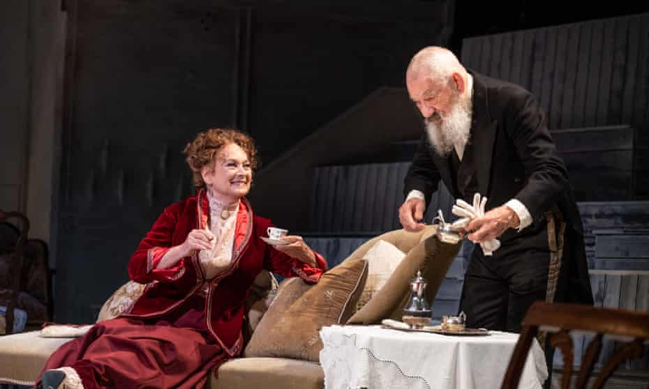 Bodily and vocal mastery … Ian McKellen as Firs with Francesca Annis as Ranevskaya in The Cherry Orchard.