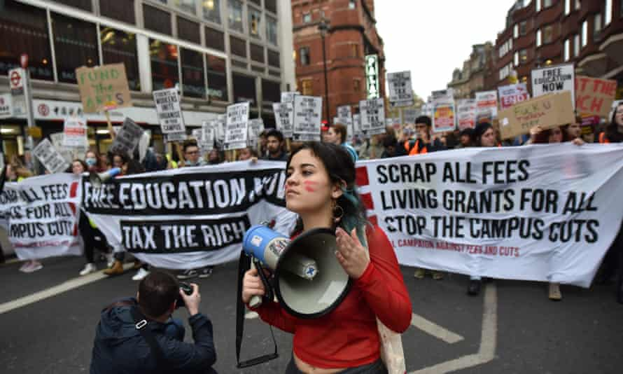 A protest against tuition fees and student debt in November 2017