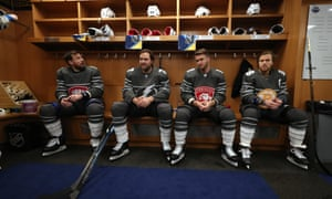 NHL players at the 2020 All-Star Game in St Louis sit in the locker room. The media and other personnel will not be allowed to enter locker rooms for the time being