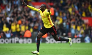 Abdoulaye Doucouré of Watford celebrates after opening the scoring at St Mary's.