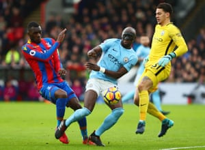 Eliaquim Mangala (centre) never looked convincing for Manchester City in what was a season of bad signings that included Wilfried Bony and Fernando.