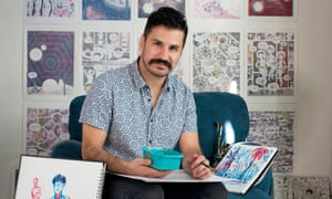 Observer graphic novel short story prize winner Edo Brenes for New Review, At home in his studio in Cambridge, 11/11/2019