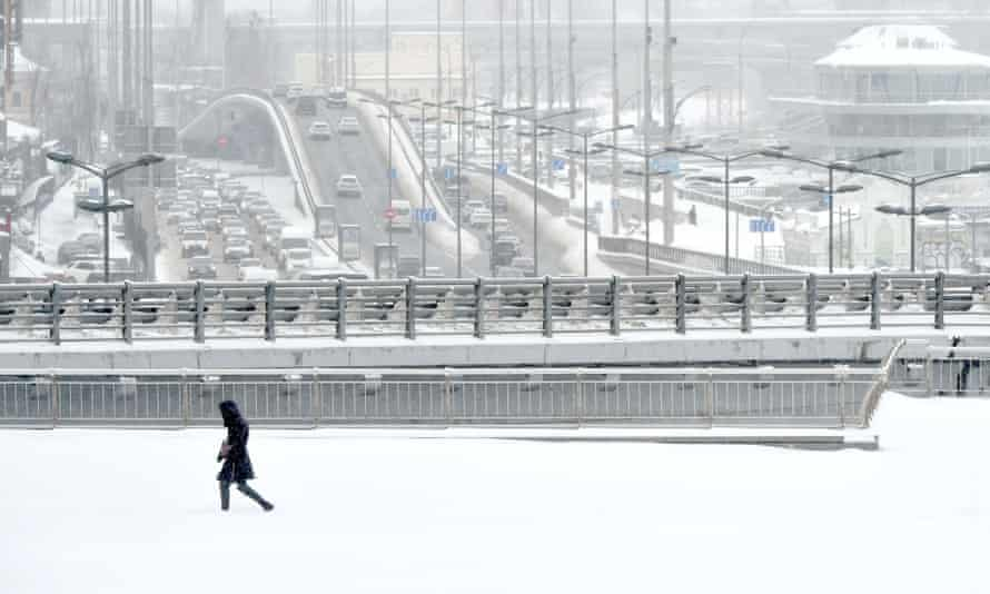 Ukraine has received record snowfalls in recent days