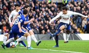 Dele Alli scores Tottenham's third in the 3-1 win against Chelsea at Stamford Bridge in April