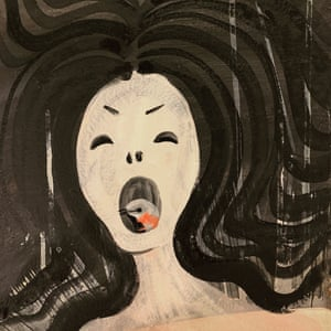 a bird in the mouth of a screaming woman