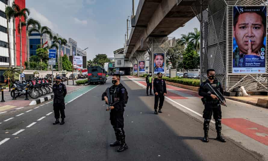 Indonesian police guard the site of an Asean emergency meeting on Myanmar on Saturday in Jakarta.
