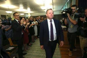 The opposition leader, Anthony Albanese, is given a standing ovation after addressing the party this morning.