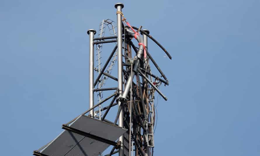 The broken top of a 300-metre-high telecom mast outside Boras, Sweden.