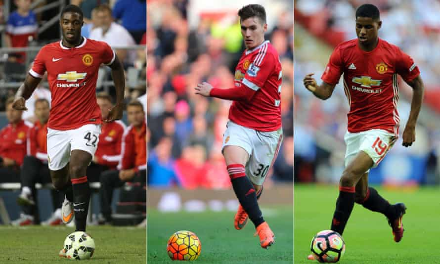 Tyler Blackett, left, Guillermo Varela, centre, and Marcus Rashford. For the first two at least, there is little hope of a Manchester United future under José Mourinho