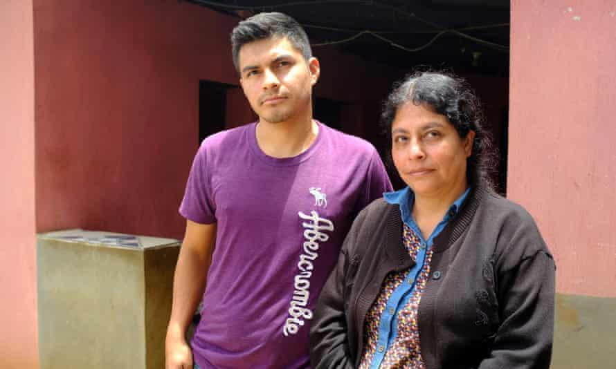 Luis Marroquín's widow, Maria Perez, and son Luis.
