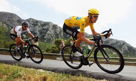 Bradley Wiggins (right) and Mark Cavendish competing in the 2012 Tour de France