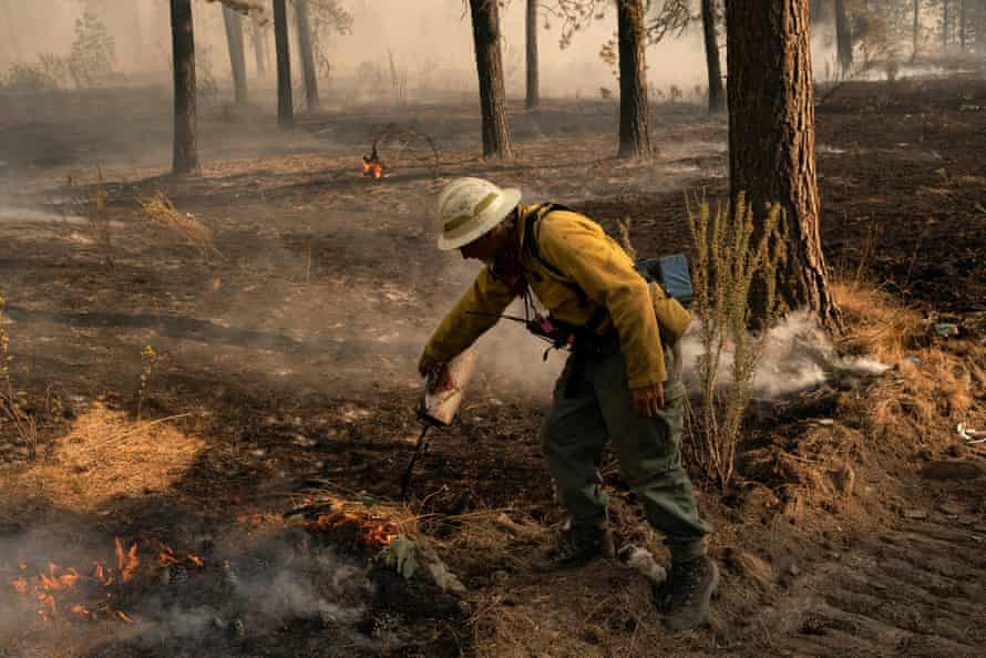 A firefighter at work in eastern Washington state.