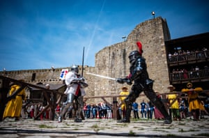 Participants in the medieval Battle of the Nations tournament at the Smederevo fortress in eastern Serbia