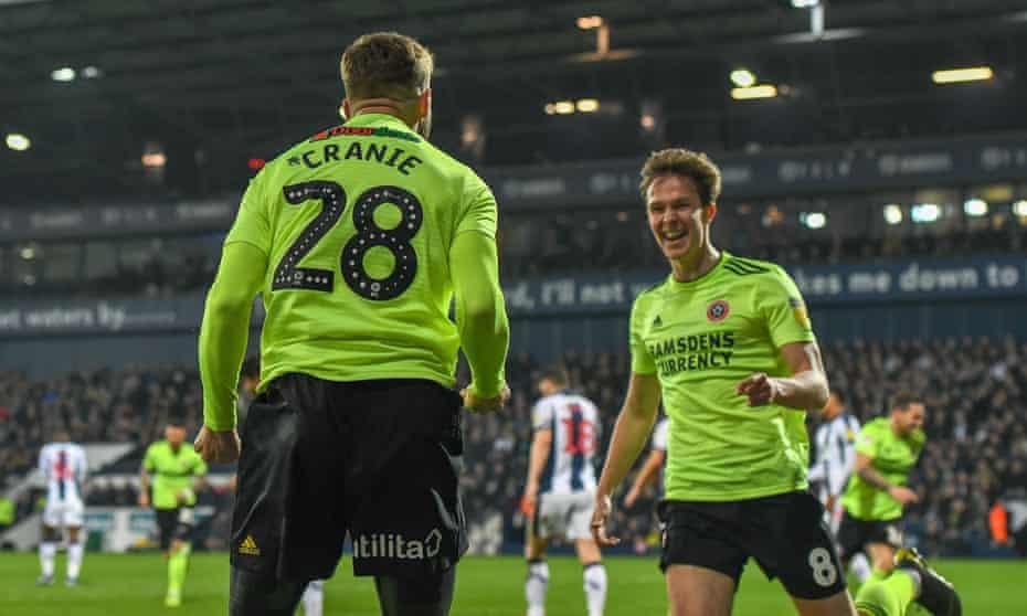 Kieran Dowell celebrates scoring Sheffield United's opening goal against West Brom.